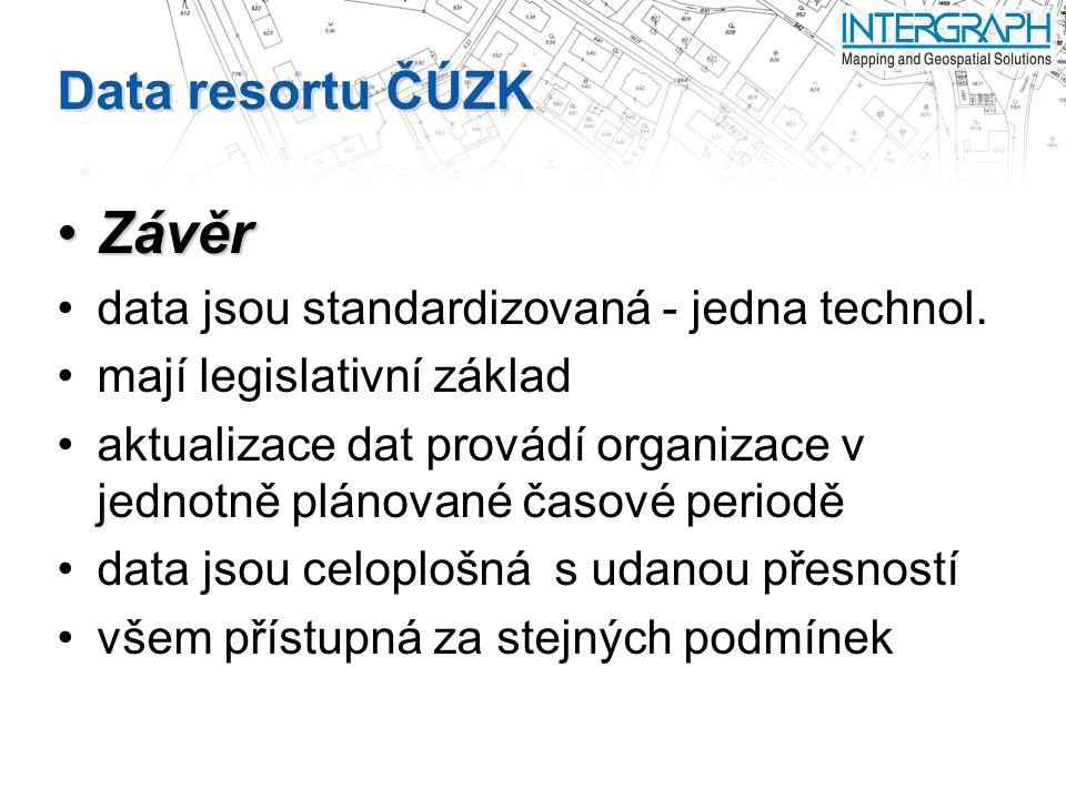 Závěr Data resortu ČÚZK data jsou standardizovaná - jedna technol.