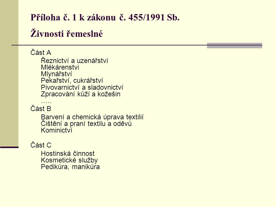 Příloha č. 1 k zákonu č. 455/1991 Sb. Živnosti řemeslné