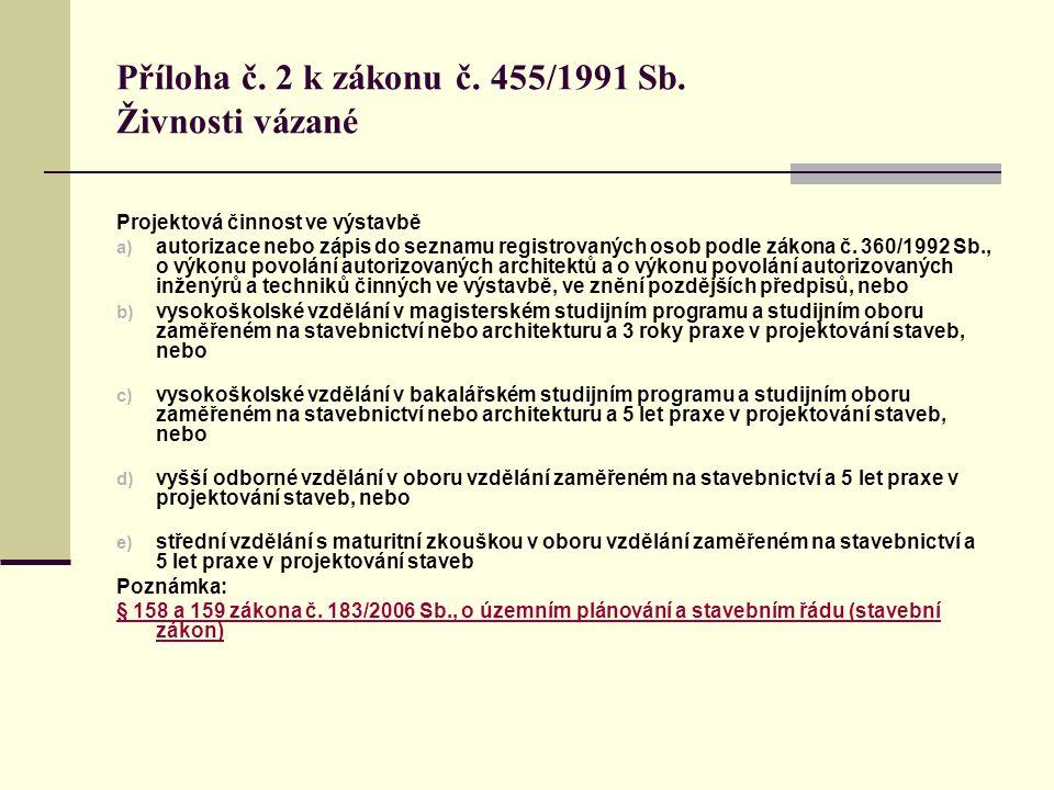 Příloha č. 2 k zákonu č. 455/1991 Sb. Živnosti vázané