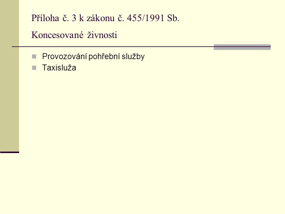 Příloha č. 3 k zákonu č. 455/1991 Sb. Koncesované živnosti