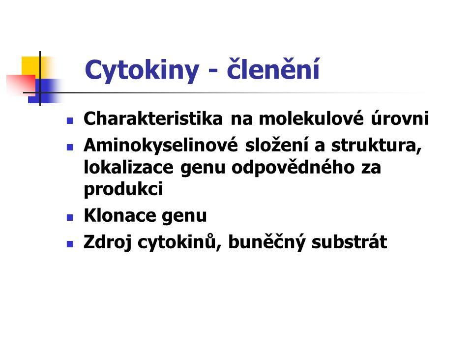 Cytokiny - členění Charakteristika na molekulové úrovni
