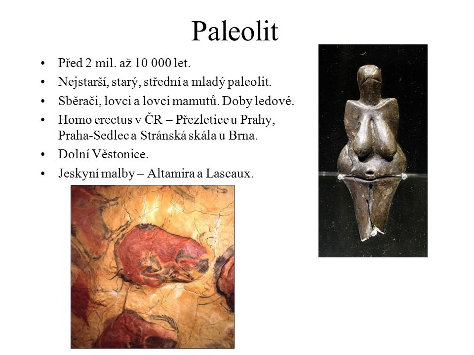Paleolit Před 2 mil. až 10 000 let.