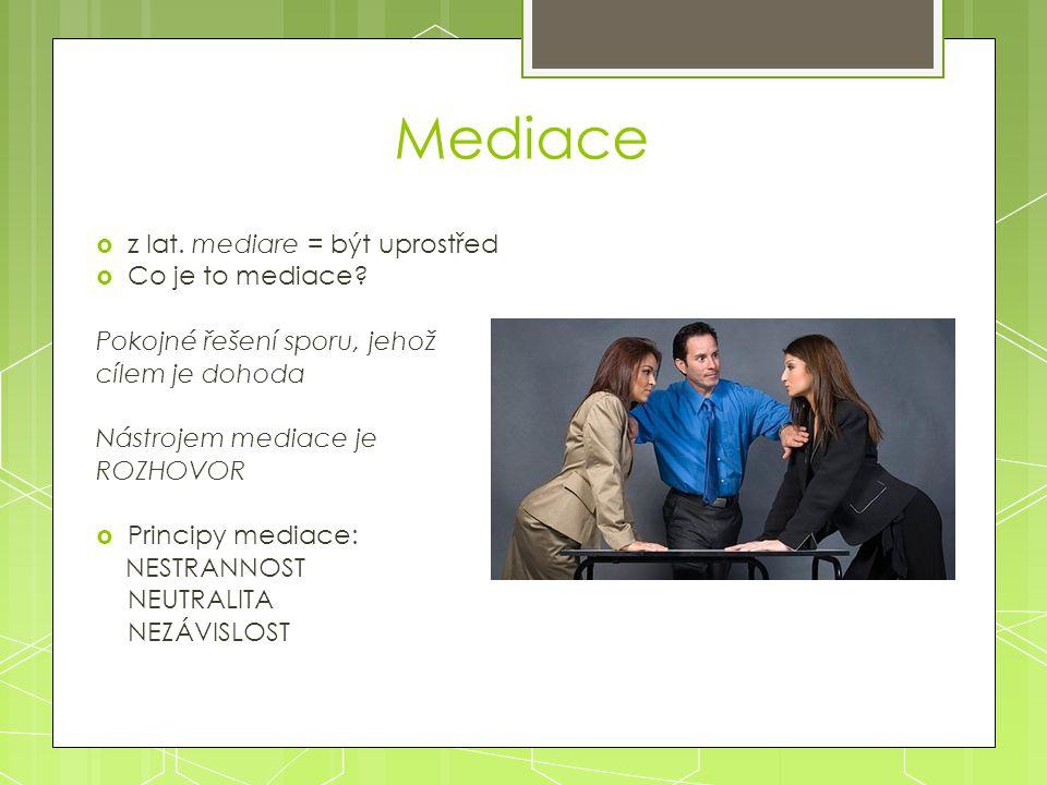 Mediace z lat. mediare = být uprostřed Co je to mediace