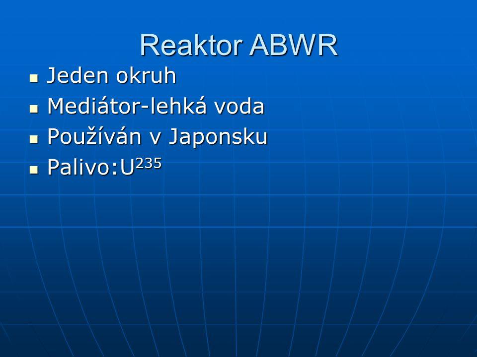 Reaktor ABWR Jeden okruh Mediátor-lehká voda Používán v Japonsku