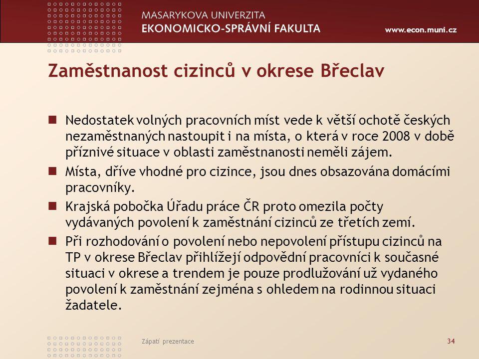 Zaměstnanost cizinců v okrese Břeclav