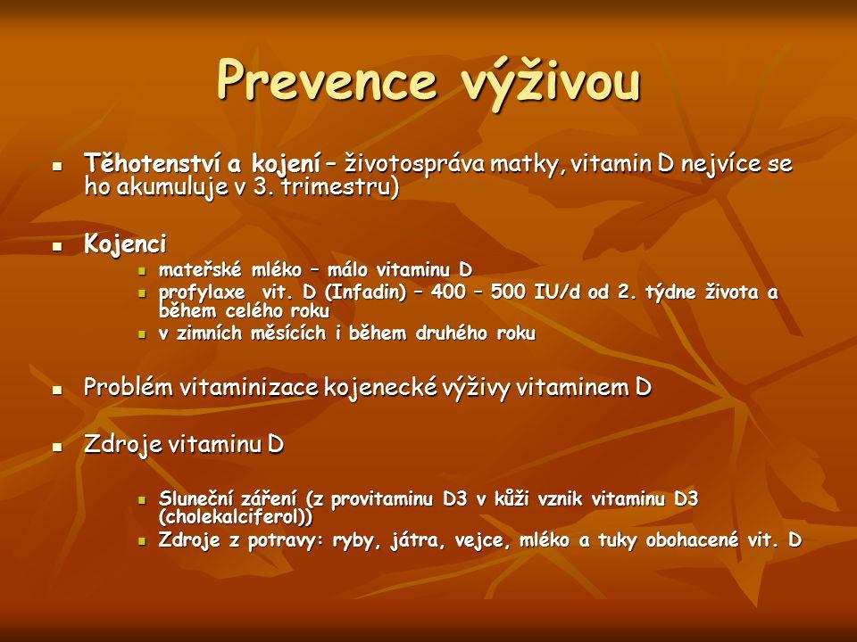 Prevence výživou Těhotenství a kojení – životospráva matky, vitamin D nejvíce se ho akumuluje v 3. trimestru)