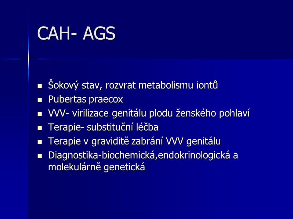 CAH- AGS Šokový stav, rozvrat metabolismu iontů Pubertas praecox