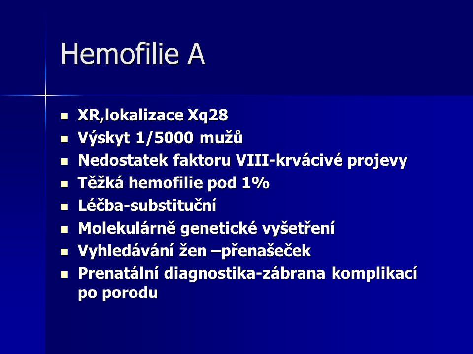Hemofilie A XR,lokalizace Xq28 Výskyt 1/5000 mužů