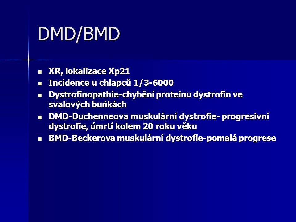 DMD/BMD XR, lokalizace Xp21 Incidence u chlapců 1/3-6000