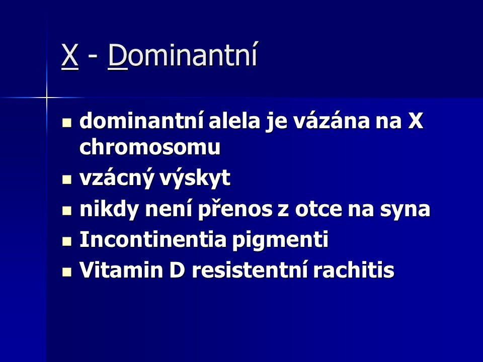 X - Dominantní dominantní alela je vázána na X chromosomu