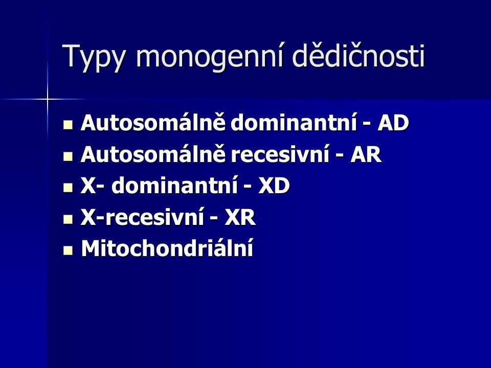 Typy monogenní dědičnosti