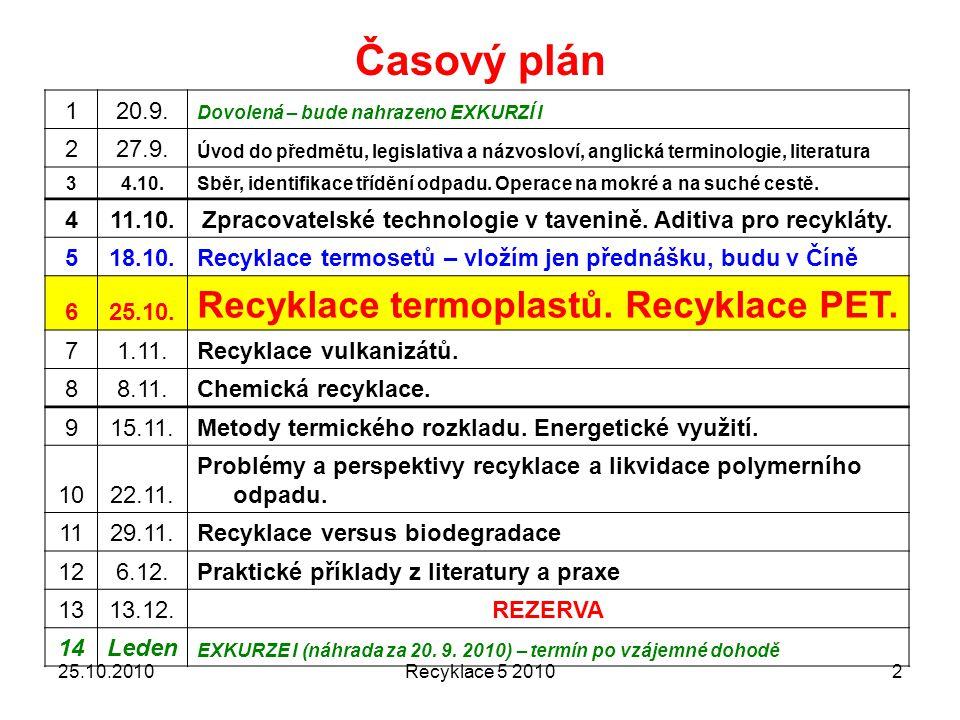 Zpracovatelské technologie v tavenině. Aditiva pro recykláty.