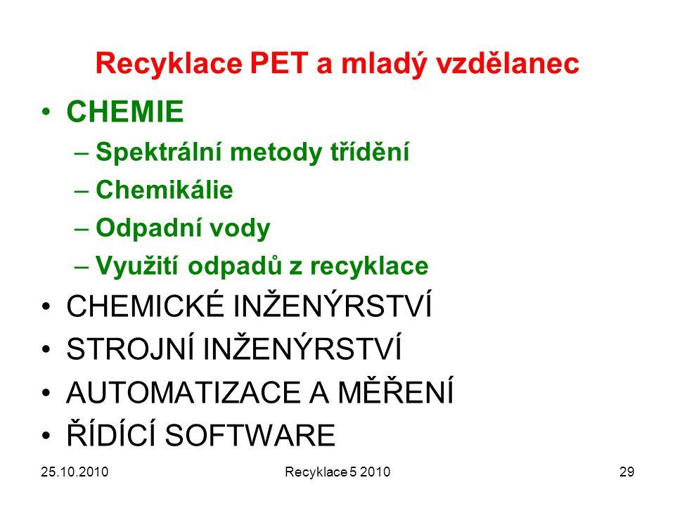 Recyklace PET a mladý vzdělanec