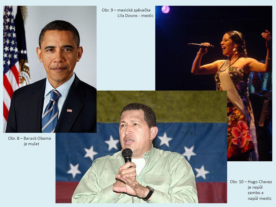 Obr. 9 – mexická zpěvačka Lila Downs - mestic. Obr. 8 – Barack Obama. je mulat. Obr. 10 – Hugo Chavez.