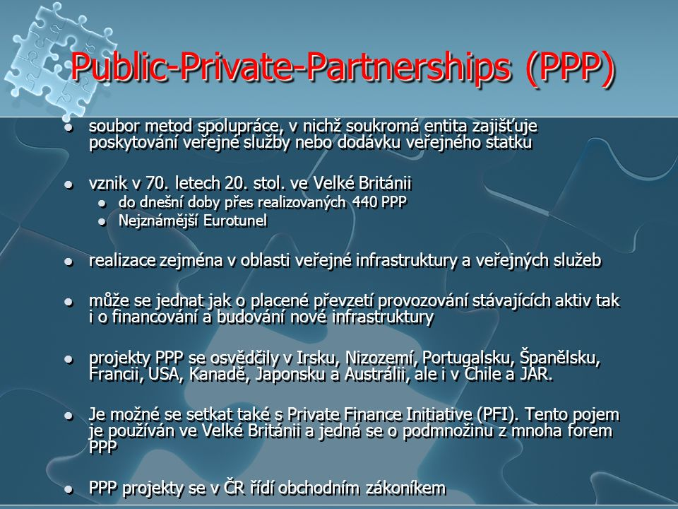 Public-Private-Partnerships (PPP)