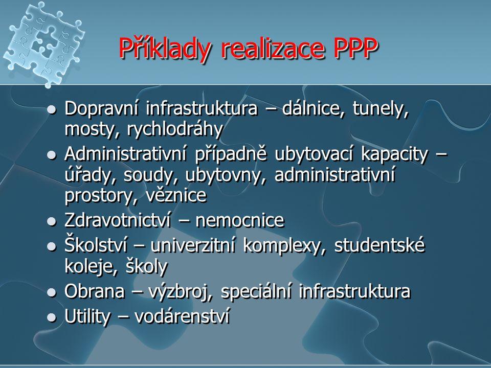 Příklady realizace PPP