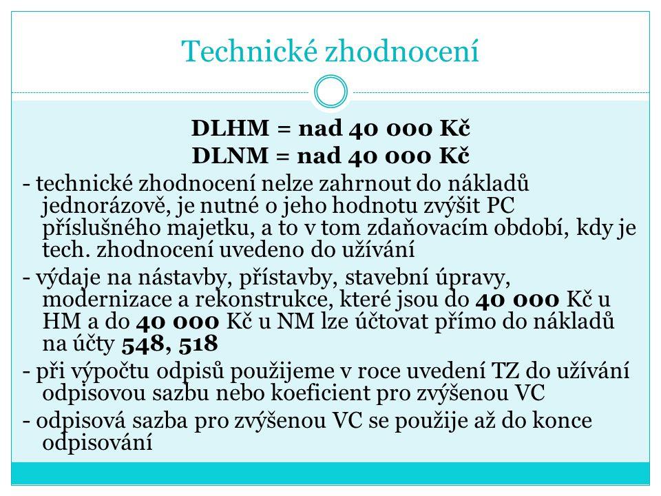 Technické zhodnocení DLHM = nad 40 000 Kč DLNM = nad 40 000 Kč