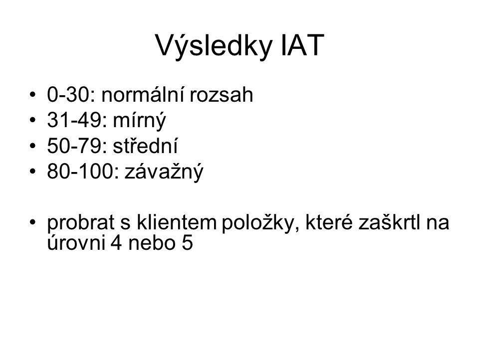 Výsledky IAT 0-30: normální rozsah 31-49: mírný 50-79: střední