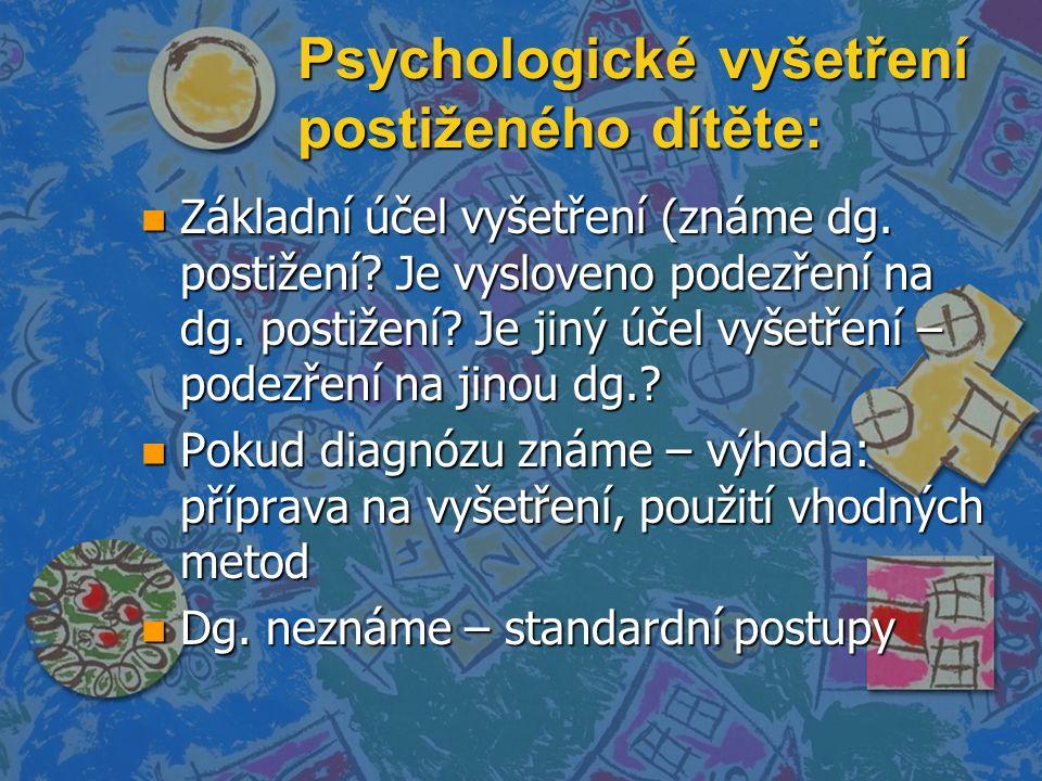 Psychologické vyšetření postiženého dítěte: