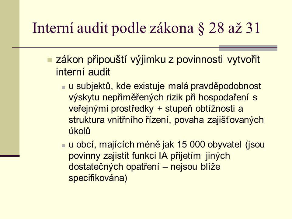 Interní audit podle zákona § 28 až 31