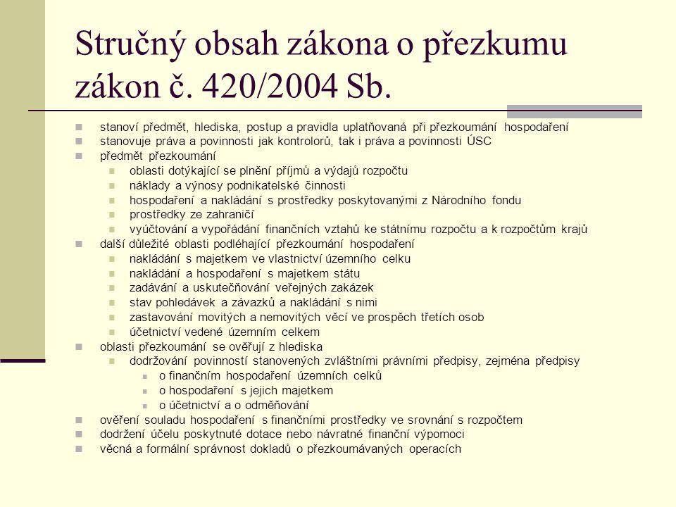 Stručný obsah zákona o přezkumu zákon č. 420/2004 Sb.