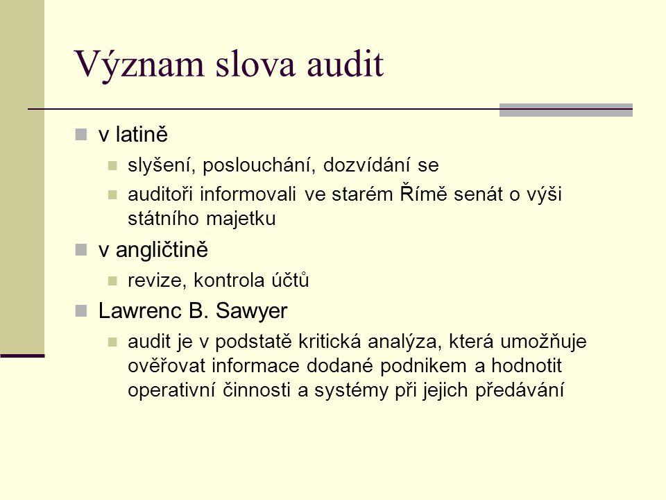 Význam slova audit v latině v angličtině Lawrenc B. Sawyer