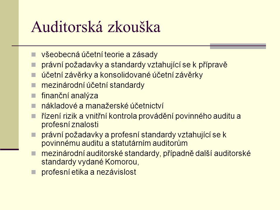 Auditorská zkouška všeobecná účetní teorie a zásady