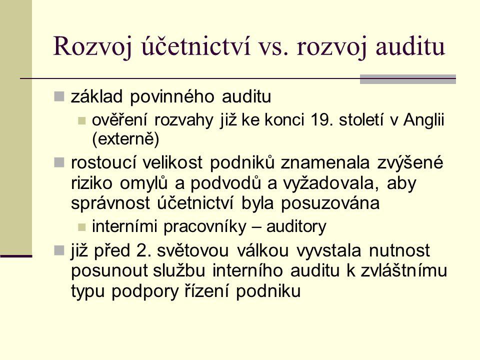 Rozvoj účetnictví vs. rozvoj auditu