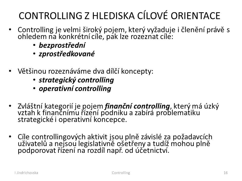 CONTROLLING Z HLEDISKA CÍLOVÉ ORIENTACE