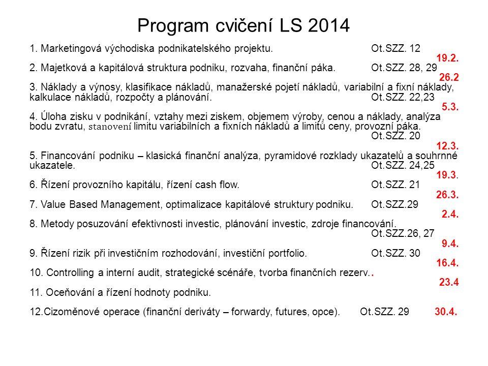 Program cvičení LS 2014 1. Marketingová východiska podnikatelského projektu. Ot.SZZ. 12. 19.2.