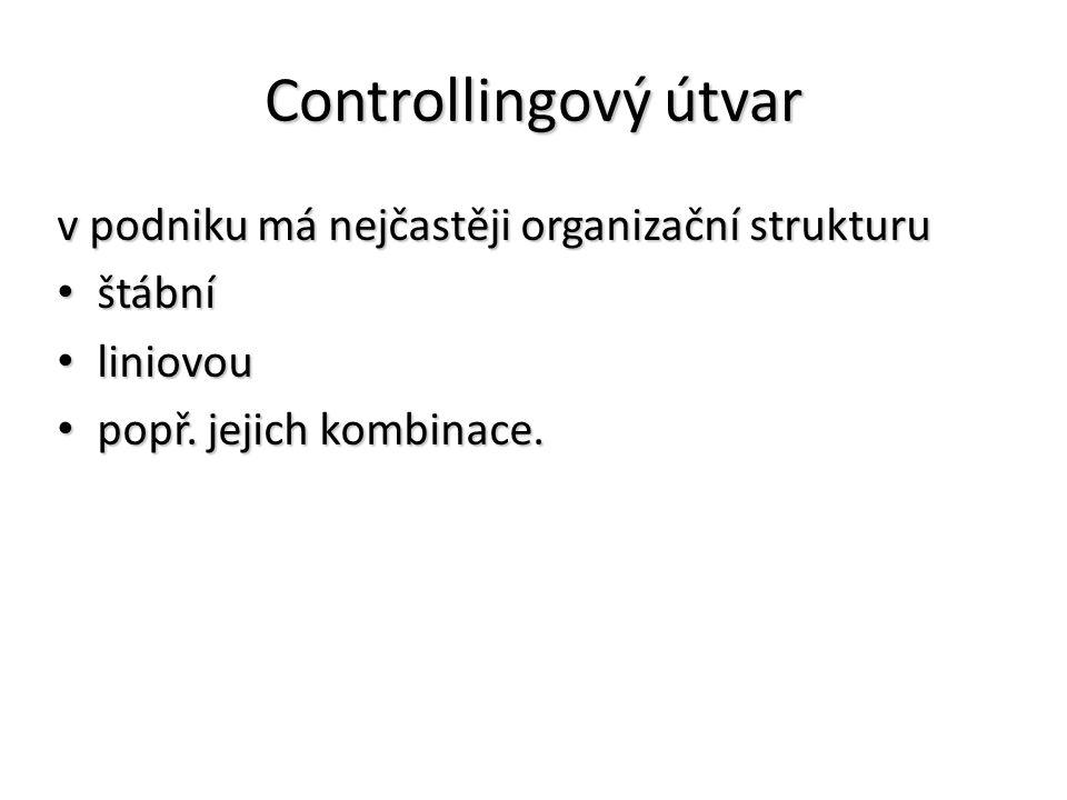 Controllingový útvar v podniku má nejčastěji organizační strukturu