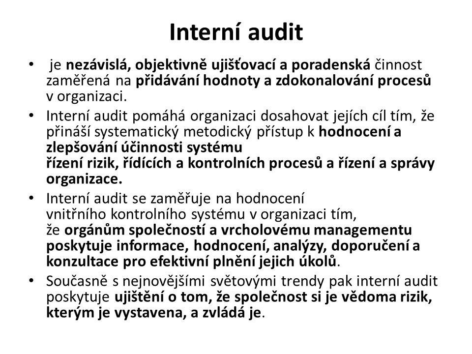Interní audit je nezávislá, objektivně ujišťovací a poradenská činnost zaměřená na přidávání hodnoty a zdokonalování procesů v organizaci.