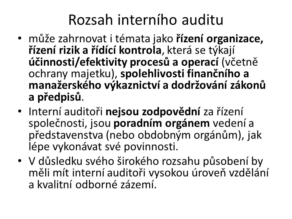 Rozsah interního auditu