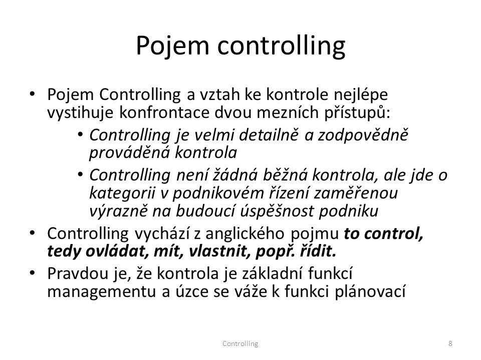 Pojem controlling Pojem Controlling a vztah ke kontrole nejlépe vystihuje konfrontace dvou mezních přístupů: