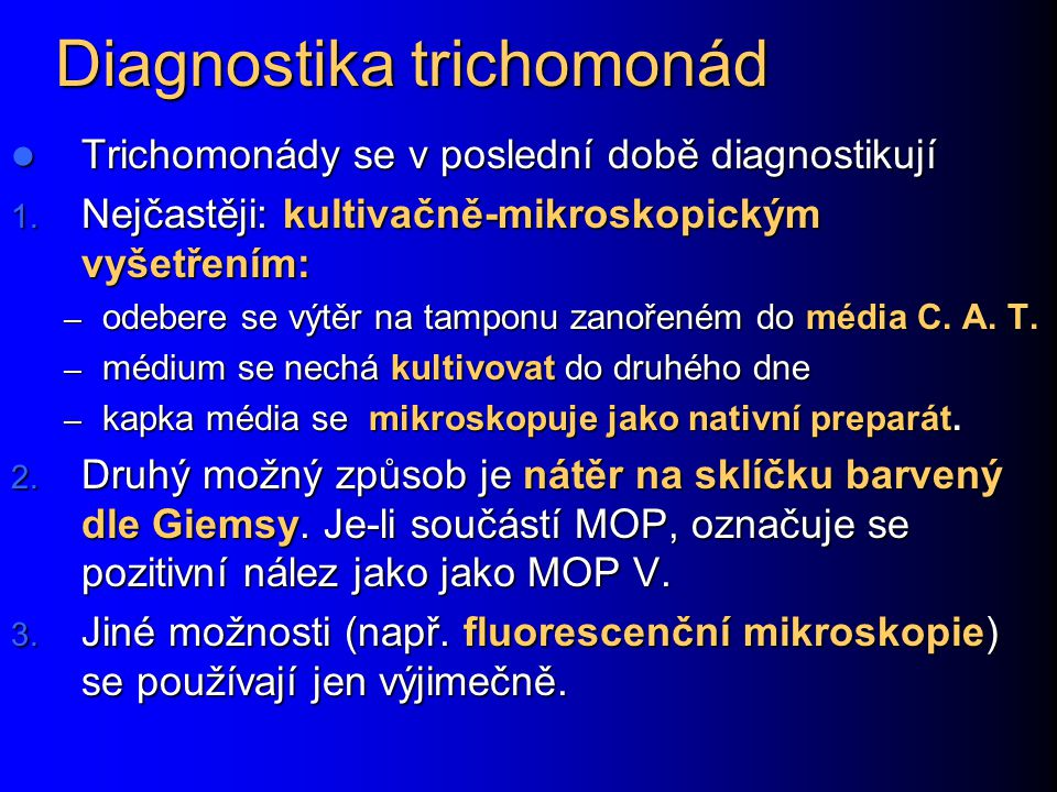 Diagnostika trichomonád