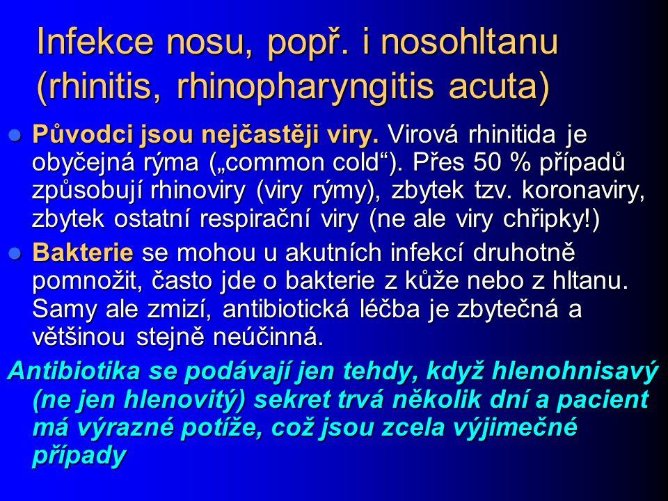 Infekce nosu, popř. i nosohltanu (rhinitis, rhinopharyngitis acuta)