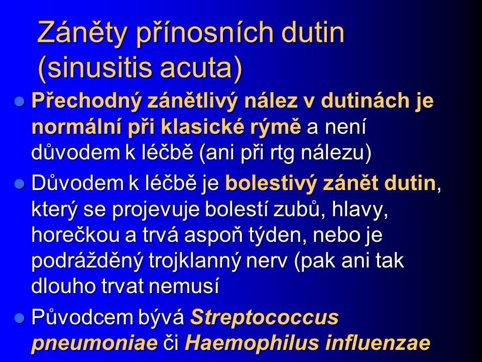 Záněty přínosních dutin (sinusitis acuta)