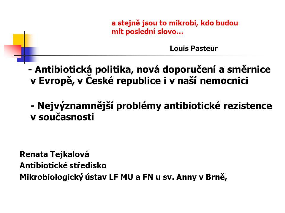 - Nejvýznamnější problémy antibiotické rezistence v současnosti
