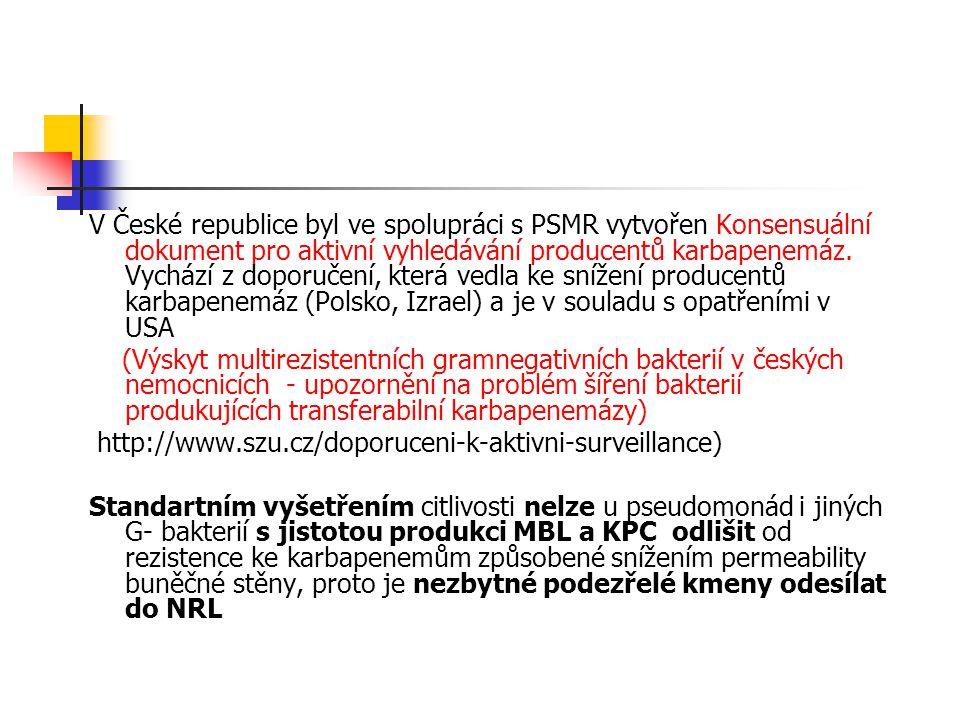 V České republice byl ve spolupráci s PSMR vytvořen Konsensuální dokument pro aktivní vyhledávání producentů karbapenemáz. Vychází z doporučení, která vedla ke snížení producentů karbapenemáz (Polsko, Izrael) a je v souladu s opatřeními v USA