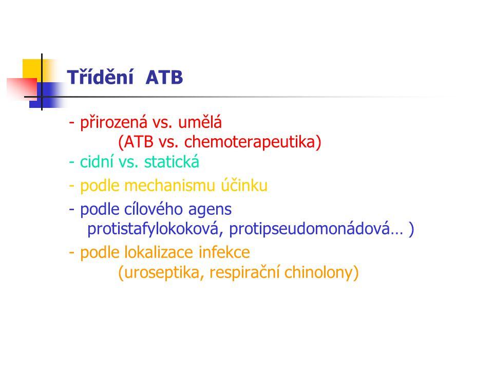 Třídění ATB - přirozená vs. umělá (ATB vs. chemoterapeutika)