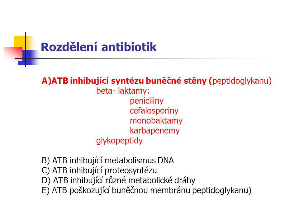 Rozdělení antibiotik A)ATB inhibující syntézu buněčné stěny (peptidoglykanu) beta- laktamy: peniciliny.