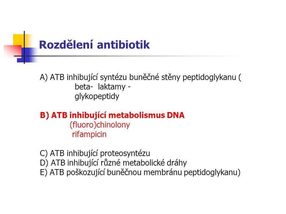 Rozdělení antibiotik A) ATB inhibující syntézu buněčné stěny peptidoglykanu ( beta- laktamy - glykopeptidy.