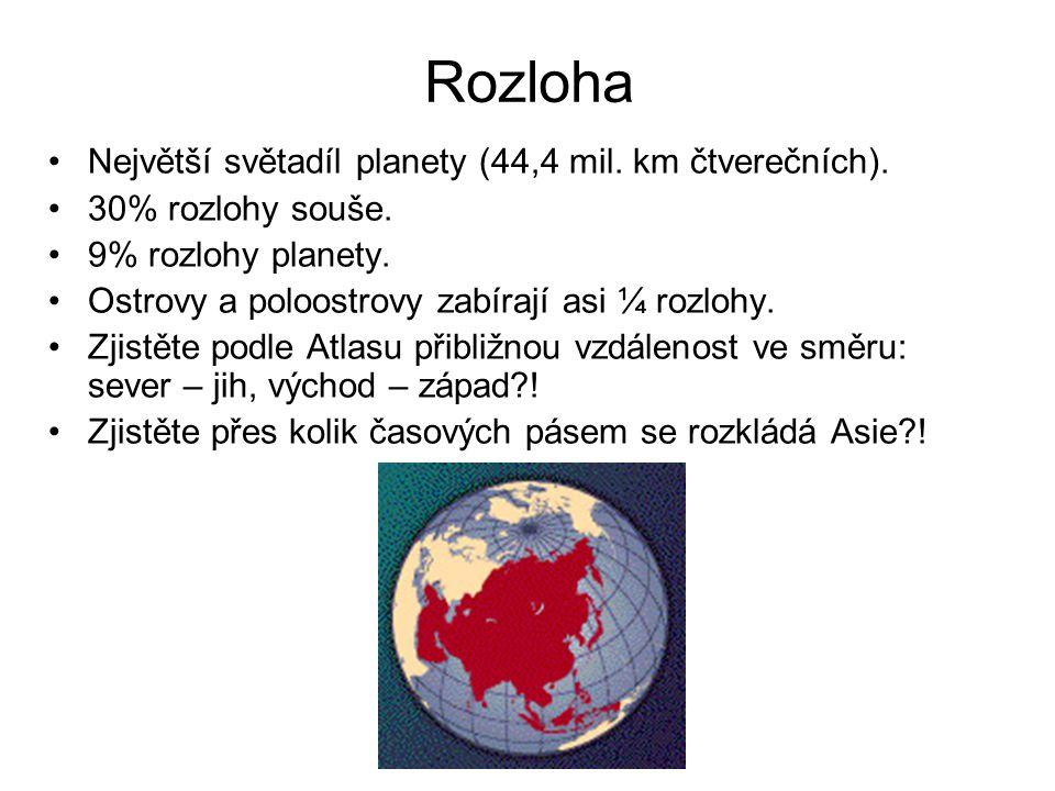 Rozloha Největší světadíl planety (44,4 mil. km čtverečních).