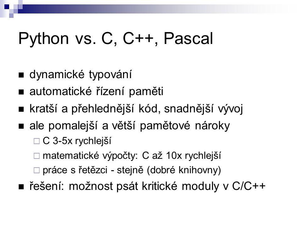 Python vs. C, C++, Pascal dynamické typování automatické řízení paměti