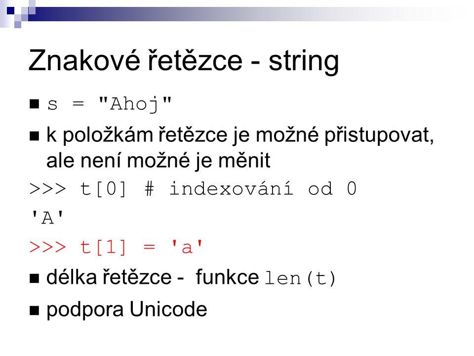 Znakové řetězce - string