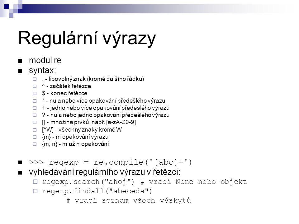 Regulární výrazy modul re syntax: