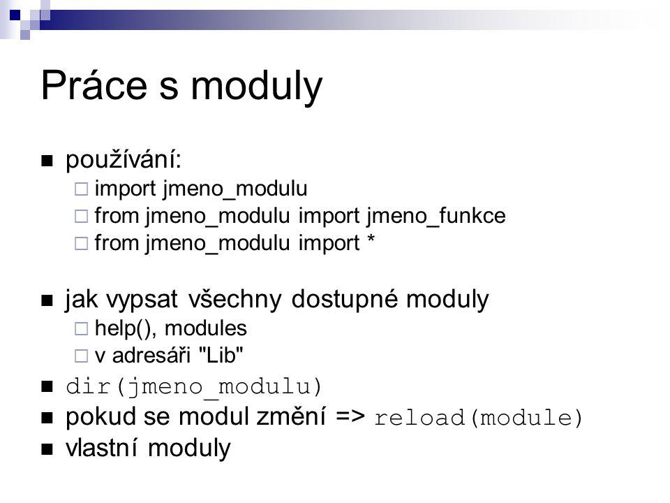 Práce s moduly používání: jak vypsat všechny dostupné moduly