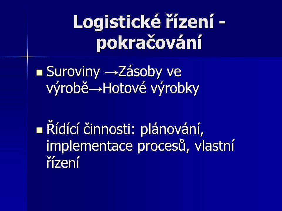 Logistické řízení - pokračování