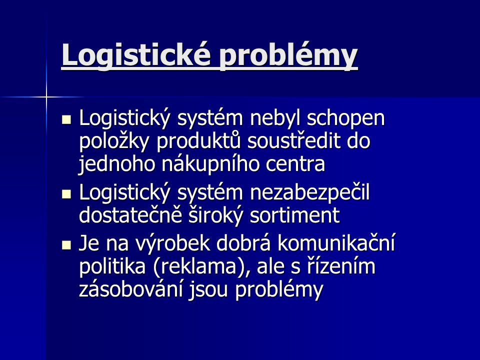 Logistické problémy Logistický systém nebyl schopen položky produktů soustředit do jednoho nákupního centra.
