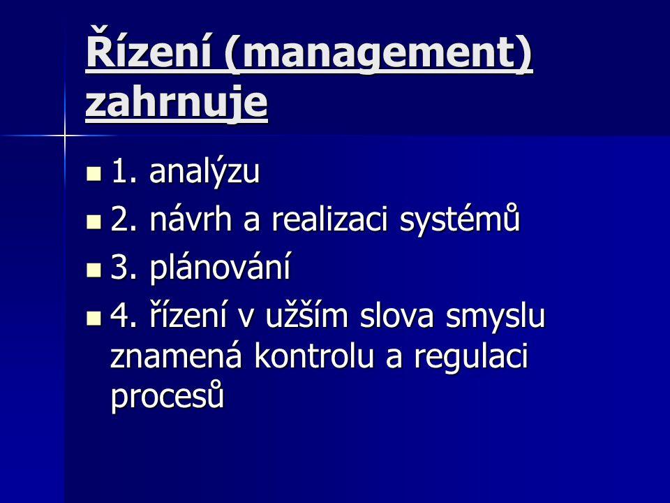 Řízení (management) zahrnuje